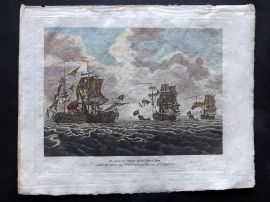 Field of Mars 1801 Naval Print. Action off Isle of Man. Elliott defeated Thurot